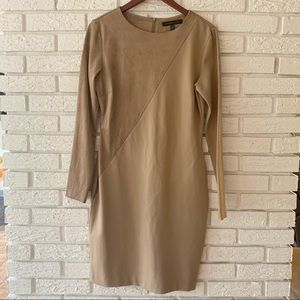Forest Lily Half Suede Midi Dress Tan Size 10